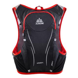 奥尼捷(AONIJIE)越野跑步背包户外徒步骑行登山双肩包水壶水袋包5L 黑配红L/XL