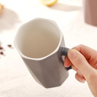金禹瑞美Remec 陶瓷水杯 口杯 礼品杯 礼盒杯 情侣杯 茶杯 奶杯 北欧款色釉盖杯 深灰 400ML