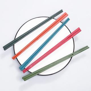双枪(Suncha) 创意彩色耐高温易清洗不发霉不锈彩虹合金筷5双装 KZ4519