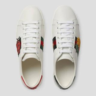 GUCCI 古驰 女士牛皮菠萝甲壳虫刺绣小白鞋 431920 A38G0 9064