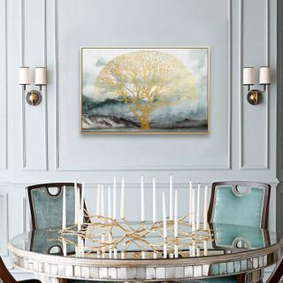 美誉度 装饰画  简约现代挂画  客厅沙发背景墙壁画    简欧北欧风格墙画 金色发财树 60*90
