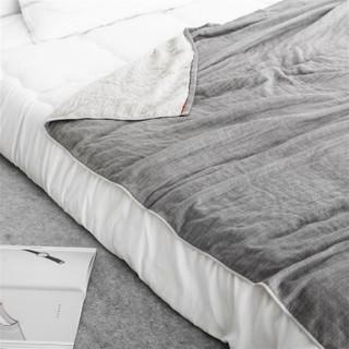 京造  全棉纱布盖毯四层无捻纱毯子 空调被沙发毯毛毯毛巾毯 150x200cm 灰色