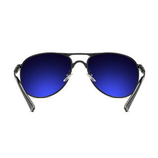 陌龙(Molong)偏光飞行员墨镜男司机开车驾驶大框太阳镜蛤蟆镜男士时尚潮流眼镜M8722 黑金黑灰片