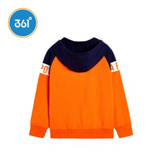 361° 童装 男童外套针织18年秋季新品儿童运动上衣大童连帽衣服  N51833402 芬达橙-1 150