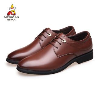Mexican 稻草人 商务休闲皮鞋男子士英伦轻质单增高正装低帮耐磨 DX8777 棕色 42