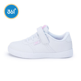 361°   童鞋女童小白鞋运动鞋新款革面百搭儿童滑板鞋 K89430051 本白 33