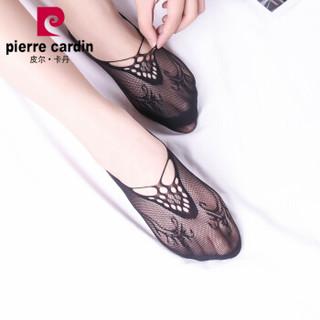 皮尔卡丹隐形船袜女 夏季船袜无缝隐形袜子防滑硅胶后跟薄款15D透气短袜 黑色 6双装