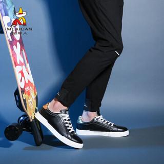 Mexican 稻草人 休闲皮板小白鞋男子韩版潮流轻质增高运动透气网平底 AS18301 黑色 38