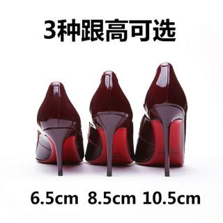 KumiKiwa 漆皮头层牛皮细跟浅口尖头高跟单鞋 K16QN3329 酒红色10CM 36