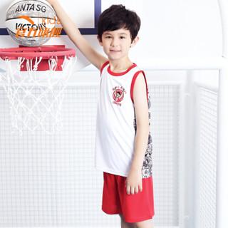 安踏(ANTA)男童装中大童篮球比赛吸湿排汗运动套装A35821203纯净白170