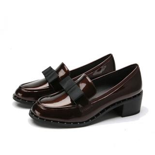 CAMEL 骆驼 女鞋套脚商务通勤蝴蝶结圆头粗坡跟 W83893500 酒红 39/245码
