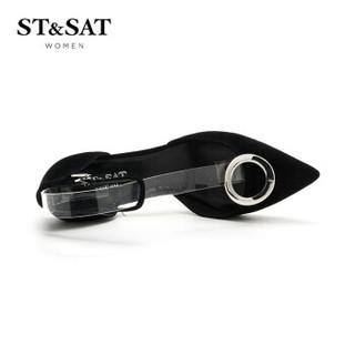 ST&SAT 星期六 专柜同款绒面羊皮革金属圆扣简约单鞋 SS71114225 黑色 36