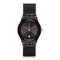斯沃琪(Swatch)瑞士手表 金属系列 极度暗黑 石英男女表YLB403M