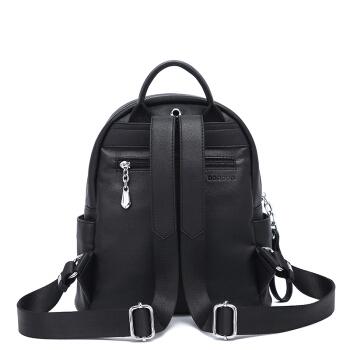 DOODOO 双肩包女韩版ck风女士休闲旅行背包大容量百搭软皮书包 D8069黑色