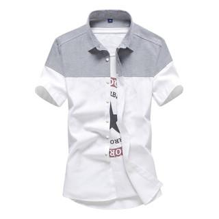 鳄鱼恤(CROCODILE)衬衫 男士韩版修身青年拼色短袖衬衫 CS53 上灰下白 L
