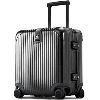 利马赫 英皇OQO系列AIR款 智能蓝牙报警防盗 不锈钢拉杆箱登机旅行箱 18英寸 900220 黑色