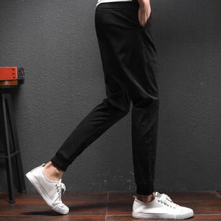 美国苹果 AEMAPE 休闲裤韩版小脚裤抽绳修身九分裤男士青年运动长裤子潮 TX703 黑色 3XL