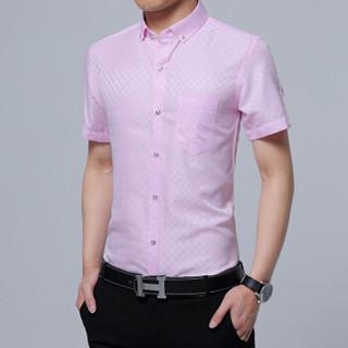 鳄鱼恤(CROCODILE)衬衫 男士商务休闲大码格子短袖衬衫 D08 粉红 4XL/43