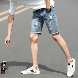 北极绒(Bejirong)牛仔短裤男 男士破洞牛仔裤修身韩版潮流短裤夏季薄款五分裤 516-K06 浅蓝色 33