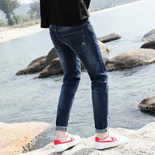 鳄鱼恤(CROCODILE)牛仔裤 男士修身潮青年弹力小脚裤 K906 蓝色 32