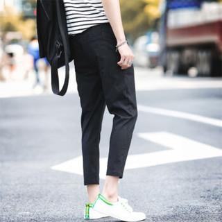 北极绒(Bejirong)休闲裤男 韩版休闲时尚小脚抽绳中腰九分裤哈伦裤 A249-K22 黑色 XL