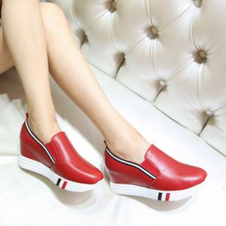 biursta 贝奴诗 内增高休闲鞋小白鞋厚底单鞋运动乐福鞋女鞋l008619-3113 红色 36