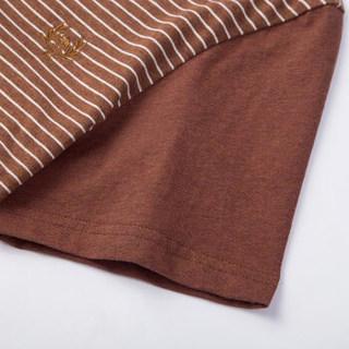骆驼(CAMEL)男装 时尚V领花纱条纹短袖休闲男短袖T恤衫 X7B201108B  橙色XL