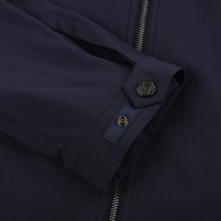 报喜鸟 秋季男士韩版修身潮休闲夹克纯色立领外套ESV13070U541藏青色46