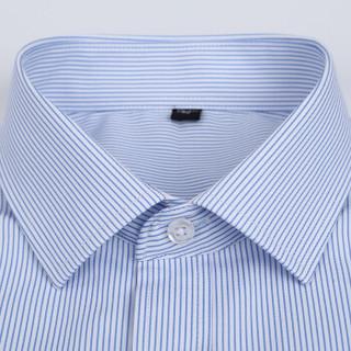 鳄鱼恤(CROCODILE)衬衫 男士竖条商务休闲职业正装大码短袖衬衫 D82 蓝D997 2XL/41
