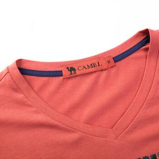 骆驼(CAMEL)男装 微弹V领绣标修身青年休闲印花短袖T恤衫男 X6B317223 桃红XXXL
