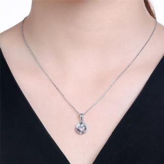 鸣钻国际 ZSDZ066 PT950铂金白金钻石吊坠圆形群镶项坠女款 15分 无色钻石