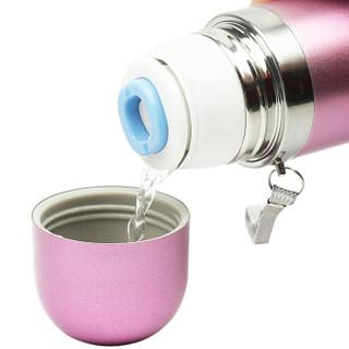 迪士尼儿童保温杯  男女学生不锈钢喝水杯 时尚便携喝水壶  500ML磨砂粉