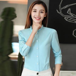 俞兆林 2019新款女装韩版木耳边立领上衣气质百搭长袖衬衫 YWCS187228 天蓝色 L