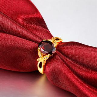鸣钻国际  蝶舞 黄金戒指 足金石榴石求婚结婚女戒 活口可调节 生日礼物