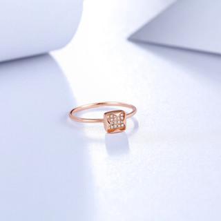 周六福珠宝 女款玫瑰18K金群镶钻石戒指钻戒 KIDB022229 14号圈