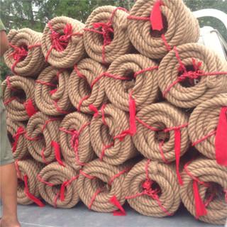 卡瓦图(kawatu)拔河绳子棉麻成人拔河比赛专用绳麻质拔河绳 粗麻绳拔河比赛绳25米/8公斤