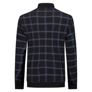 柒牌(SEVEN)夹克 青年时尚休闲格纹棒球领茄克外套 113K20240 黑色 160