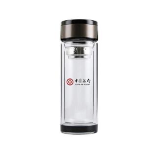 企业定制300ML黑水晶底带滤网双层玻璃杯 礼品水杯 办公水杯 HTSM112,起订量200个