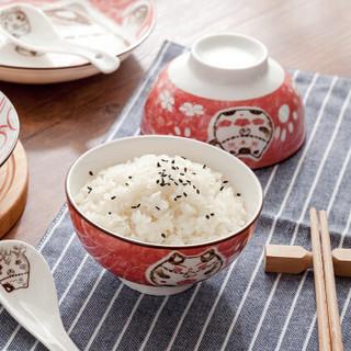 雅诚德日式创意餐具6头套装卡通陶瓷碗盘子可爱碗碟(红色)