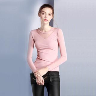 莉夏乐 2019夏季新款女打底衫圆领长袖修身t恤网纱打底衫上衣 LL230 粉色 M