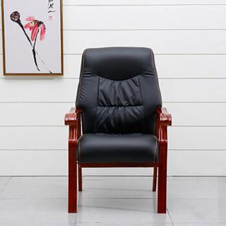 驰界(chijie)办公家具实木办公椅会客椅带扶手简约牛皮老板椅四脚会议椅子
