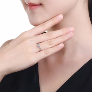 鸣钻国际 凝爱 白18k金钻戒 钻石戒指结婚求婚女戒 情侣对戒女款 18号