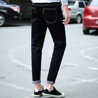 鳄鱼恤(CROCODILE)牛仔裤 男士韩版修身弹力小脚休闲裤 688017 黑色 32