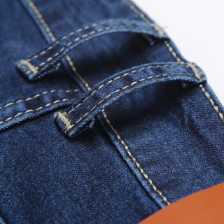 鳄鱼恤(CROCODILE)牛仔裤 男士直筒修身小脚弹力牛仔长裤 N807 蓝色 28