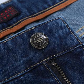 吉普(JEEP)牛仔裤男弹力中青年男士商务休闲牛仔裤2019春季新款JS0004 蓝色 32