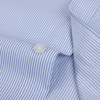 鳄鱼恤(CROCODILE)衬衫 男士竖条商务休闲职业正装大码短袖衬衫 D82 蓝D997 5XL/44