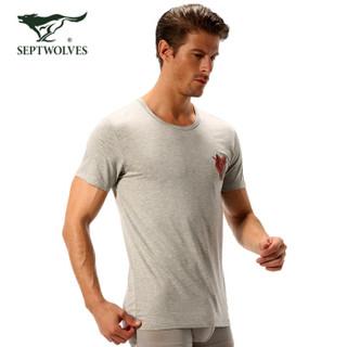 SEPTWOLVES 七匹狼 打底短袖 男T恤圆领春夏装狼文化纯色薄款 98772 麻灰 XXXL (灰色、XXXL、粘纤)