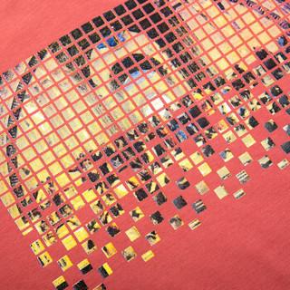 骆驼(CAMEL)男装 微弹V领绣标修身青年休闲印花短袖T恤衫男 X6B317223 桃红XL