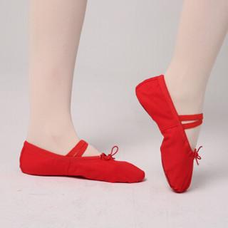 情妮娇 儿童舞蹈鞋 女软底练功鞋瑜伽鞋猫爪鞋形体跳舞鞋芭蕾舞鞋成人04款大红色30码