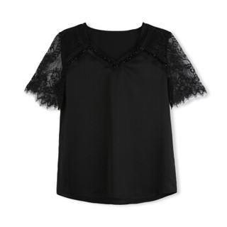 欧偲麦 蕾丝短袖上衣女夏季V领雪纺衫女士镂空小衫印花修身显瘦打底韩版 ZY29020 黑色 M